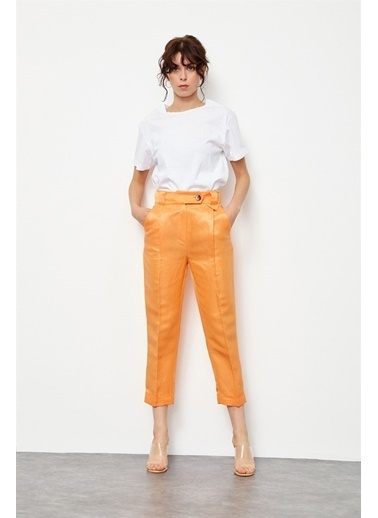 Setre Güneş Turuncusu Keten Rayon Parlak Kumaş Pantolon Sarı